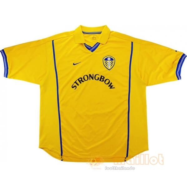 Domicile Maillot Leeds United Retro 2000 2002 Jaune Destockage Maillot De Foot