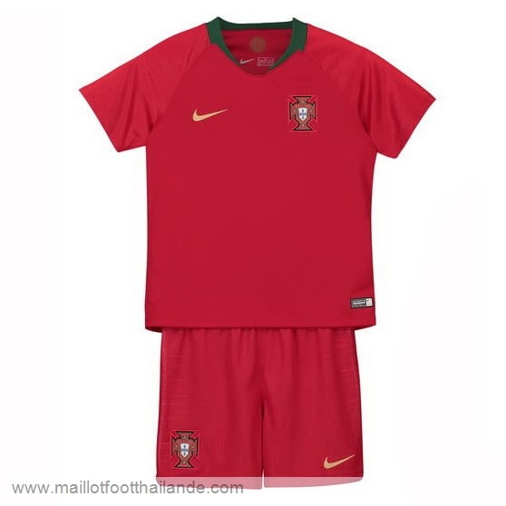 Domicile Ensemble Enfant Portugal 2018 Rouge Destockage Maillot De Foot